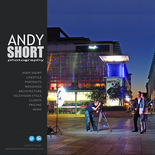 Front page of the Andy Short Photography website