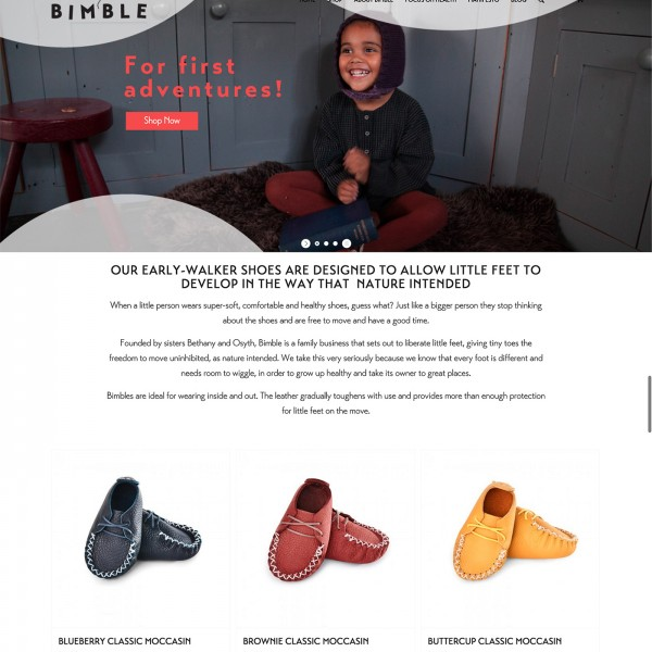 Bimble Shoes Web Design