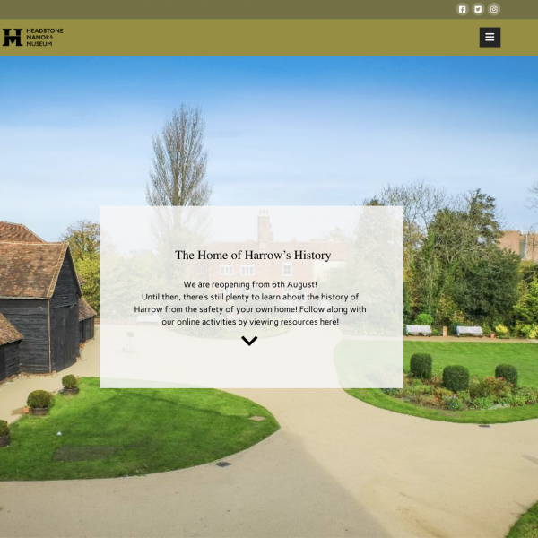 A screenshot of Headstone Manor's website